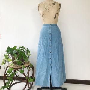 Vintage Linen Blend Button Down Skirt